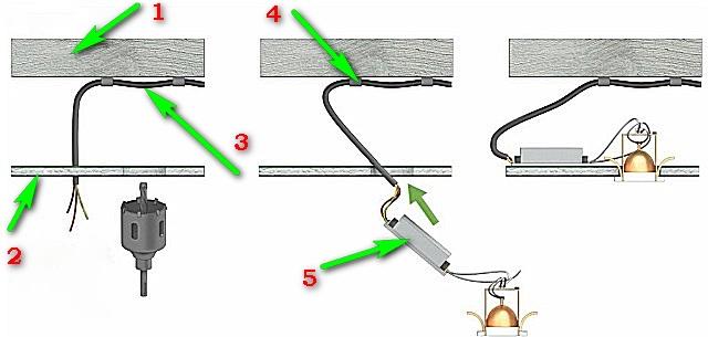 Примерная схема установки точечного светильника с трансформатором
