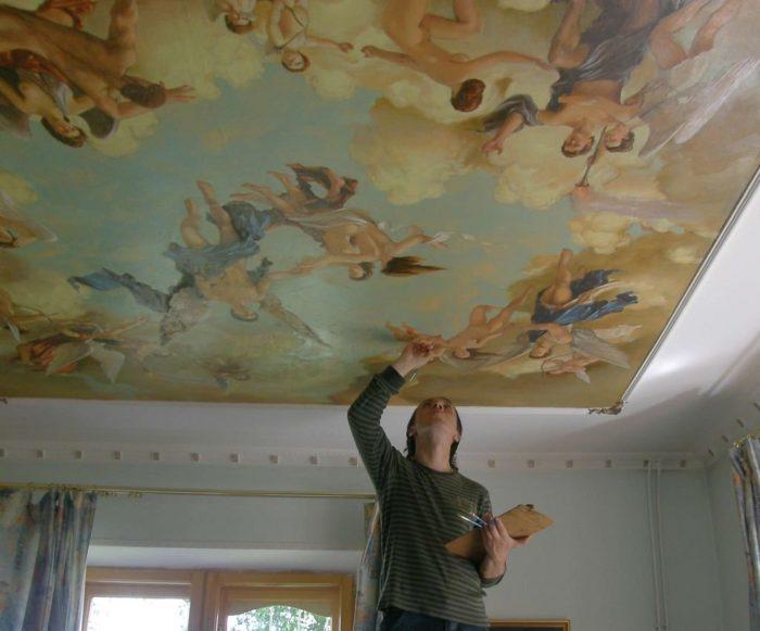 Роспись тканевого натяжного потолка