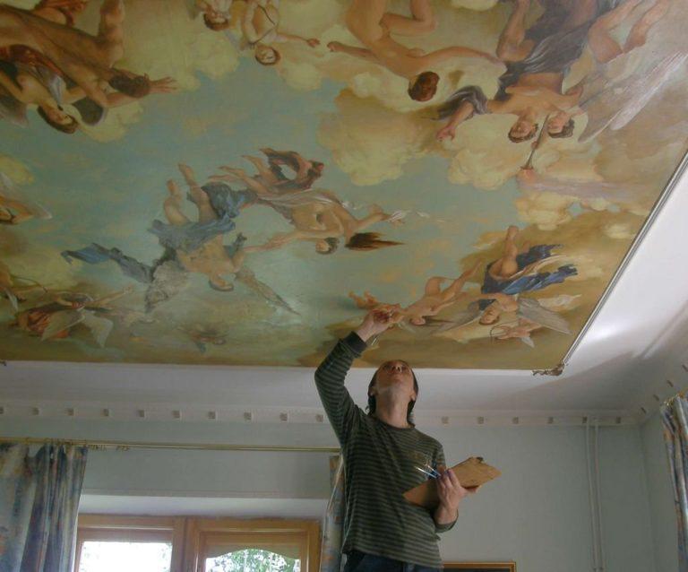 Как расписать потолок своими руками