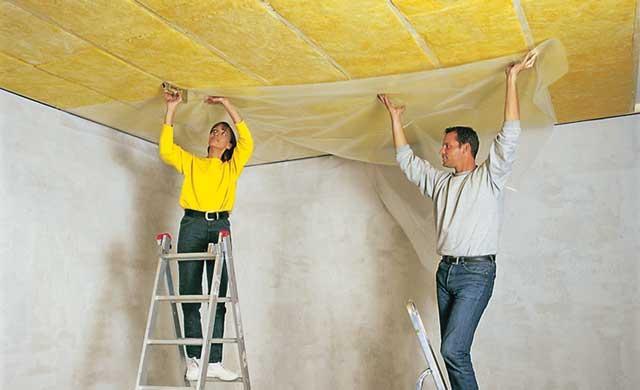 Шумоизоляция потолка волокнистыми материалами
