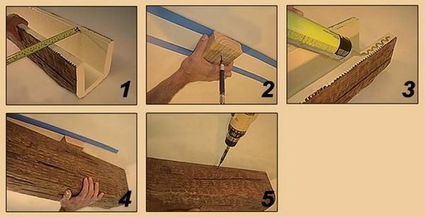 Схема монтажа декоративной балки