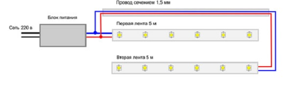 Схема подключения с одном блоком питания