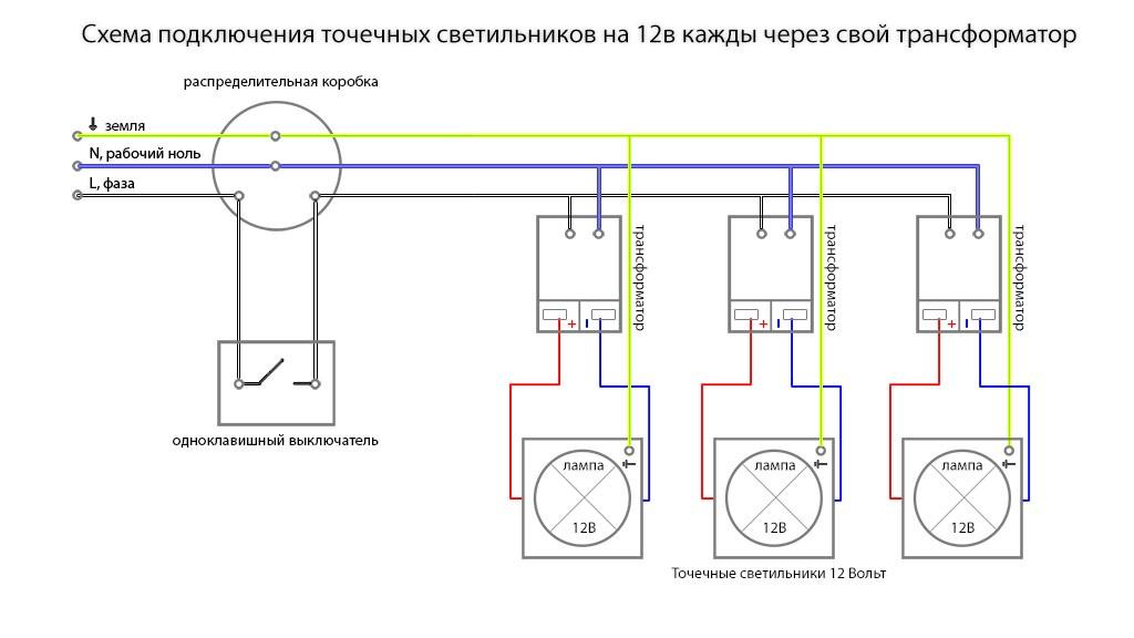 Схема подключения точечных светильников 12В с индивидуальными трансформаторами