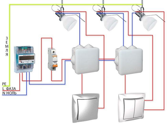 Схема подключения точечных светильников 220 В