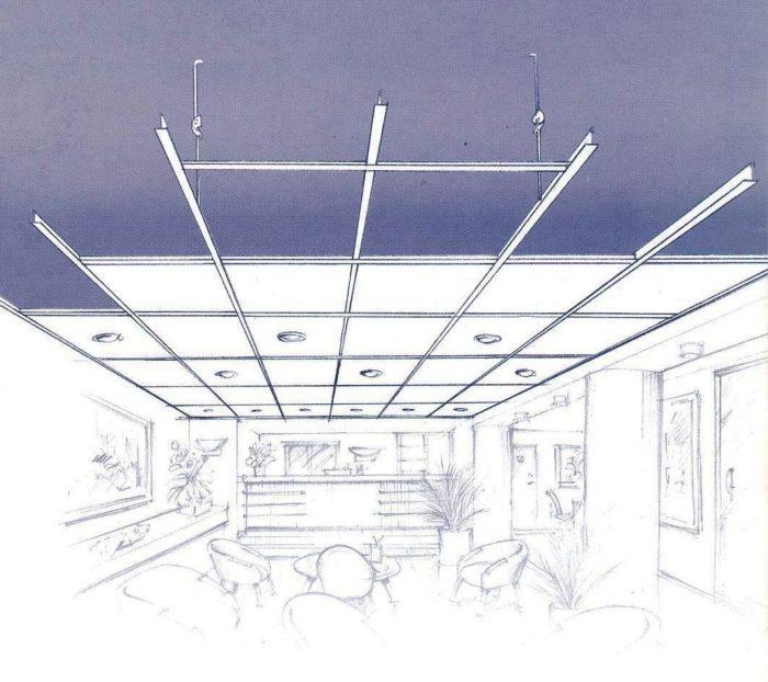 Схема стеклянного подвесного потолка