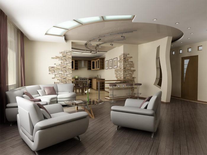 Современный двухуровневый натяжной потолок
