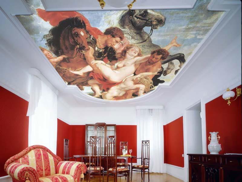 Тканевый потолок с рисунком - картиной