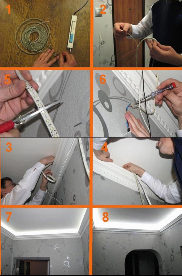 Монтаж светодиодной ленты под натяжной потолок своими руками