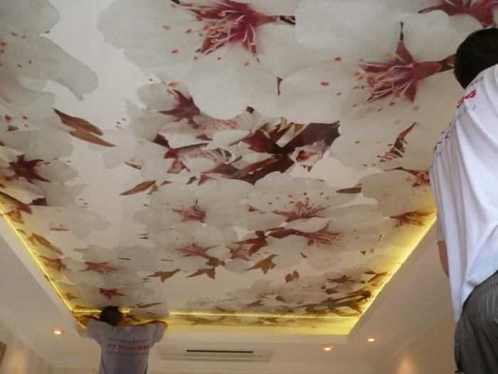 Установка тканевого натяжного потолка с рисунком