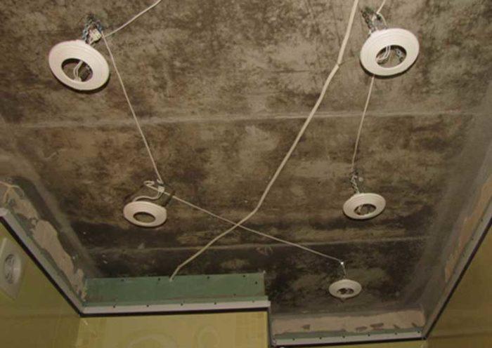 Установка закладных под точеные светильники