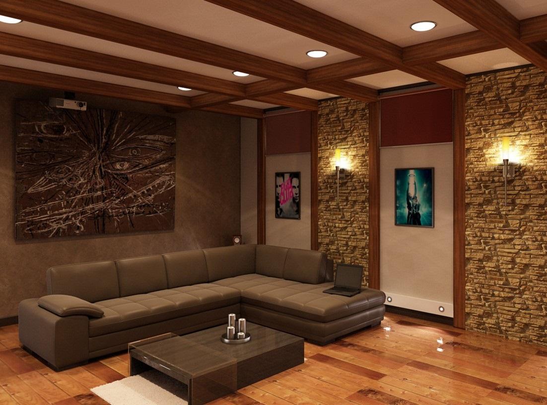 Вертикальные узкие стойки вдоль стен, являющиеся продолжением потолочных балок, позволят зрительно увеличить высоту комнаты