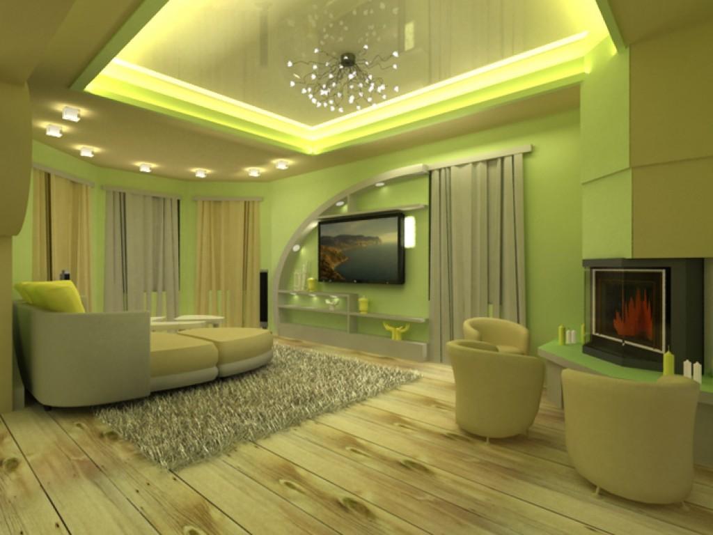 Дизайн зала с зеленым потолком