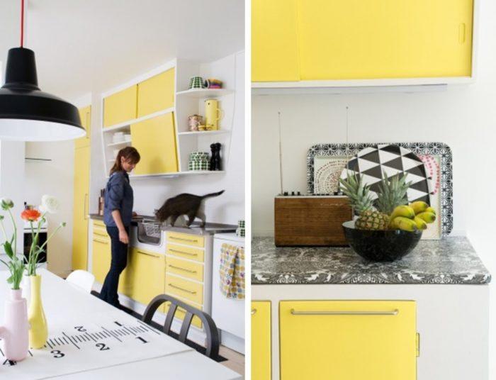 Желтый цвет пробуждает аппетит, поэтому его использование в интерьере кухни будет оправданно, а немного черного только подчеркнет глубину цвета