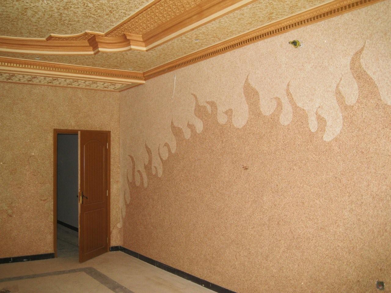 Рисунки жидкими обоями декорируем стены 5