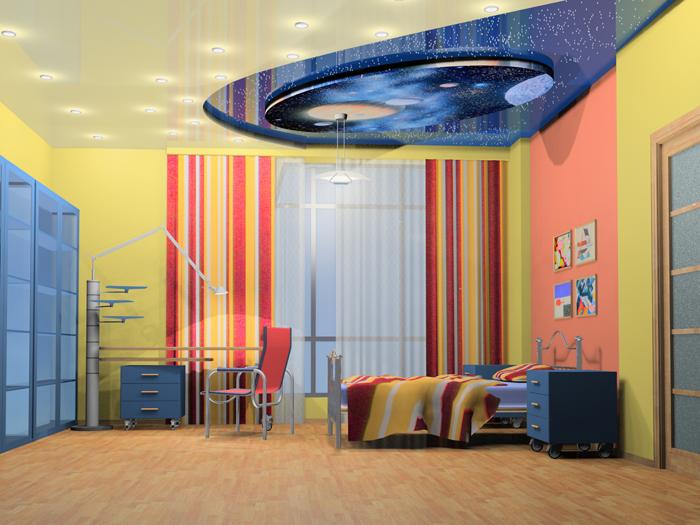 Зонирование детской комнаты с помощью натяжного потолка