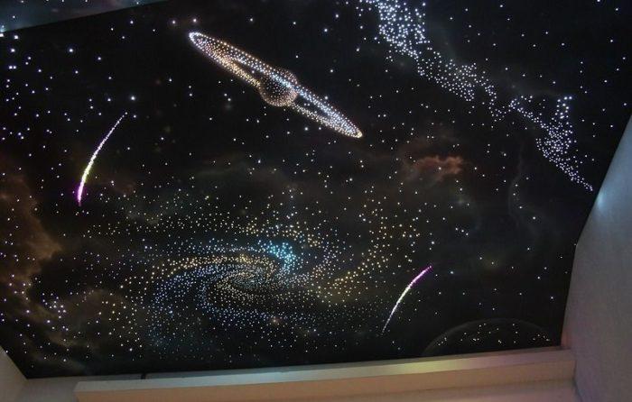 Звездное небо. Светодиодный натяжной потолок