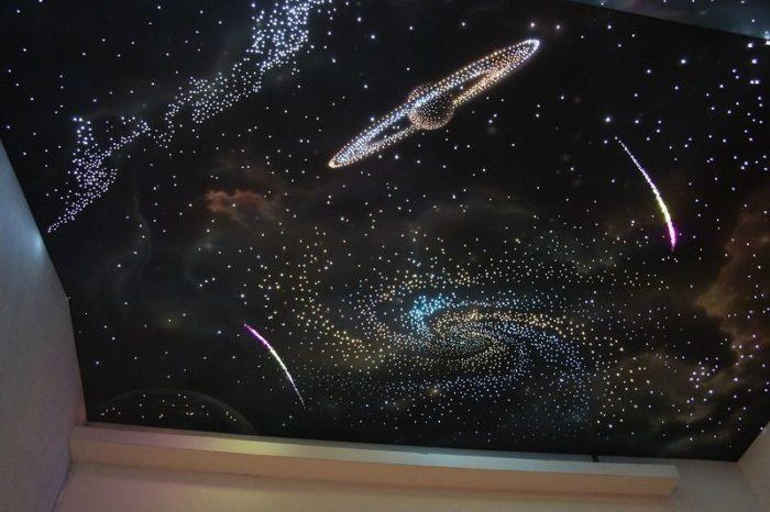 """Натяжной потолок """"Звездное небо"""" с планетами"""