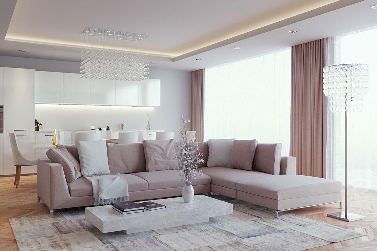 Белый натяжной потолок в гостиной с гипсокартонным коробом и светодиодной подсветкой по периметру