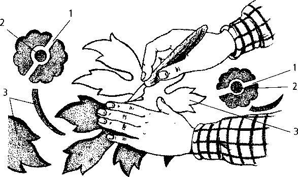Вырезание рисунка для трафарета: 1 — мостики; 2 — круглый элемент рисунка (сделан пробойником); 3 — вырезание узоров ножом