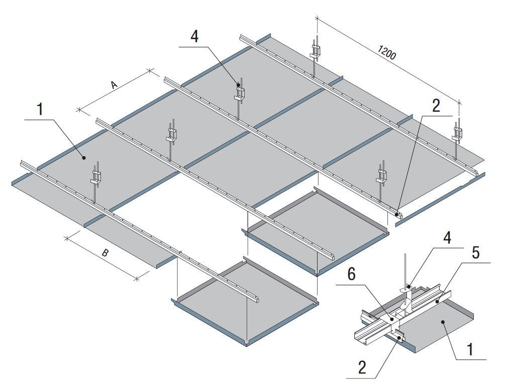 Схема монтажа кассетного потолка Албес