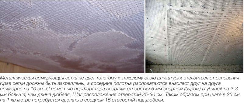 Выравнивание потолка своими руками с помощью армирующей сетки и штукатурки
