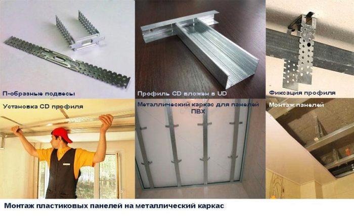 Монтаж пластиковых панелей на потолок на металлический каркас